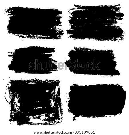 Vector grunge brush strokes backgrounds set, rectangle and square, for text. Distress texture, isolated, black on white. Used as banners, labels, badges, frames templates #393109051