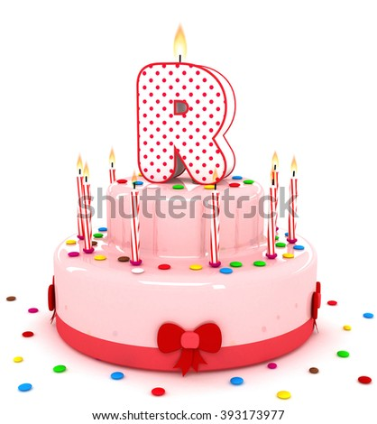 """3d cute letter """"R"""" rendering colorful birthday cake alphabet with sweet candle and decorate ribbon  isolated over white background #393173977"""