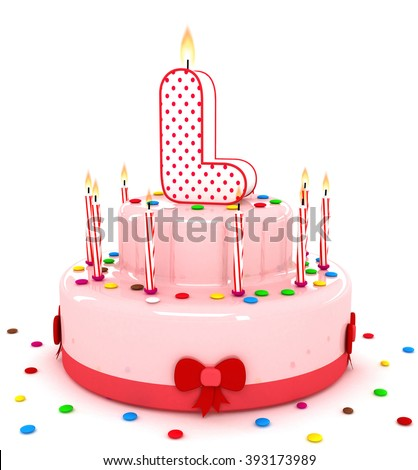 """3d cute letter """"L"""" rendering colorful birthday cake alphabet with sweet candle and decorate ribbon  isolated over white background #393173989"""