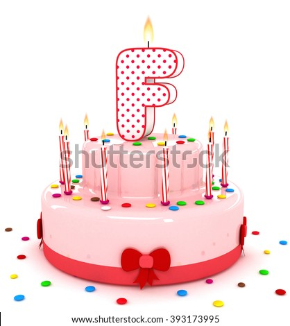 """3d cute letter """"F"""" rendering colorful birthday cake alphabet with sweet candle and decorate ribbon  isolated over white background #393173995"""