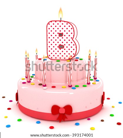 """3d cute letter """"B"""" rendering colorful birthday cake alphabet with sweet candle and decorate ribbon  isolated over white background #393174001"""