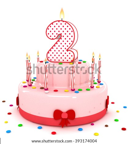 """3d cute number two """"2"""" rendering colorful birthday cake  year with sweet candle and decorate ribbon  isolated over white background #393174004"""
