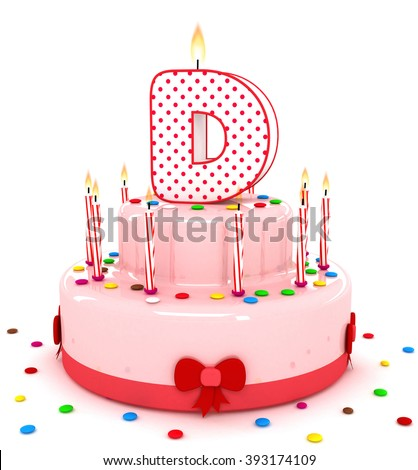 """3d cute letter """"D"""" rendering colorful birthday cake alphabet with sweet candle and decorate ribbon  isolated over white background #393174109"""