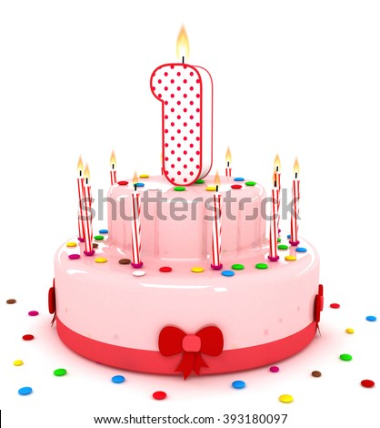 3d number 1 one render colorful birthday cake decorate with candle and sweet #393180097
