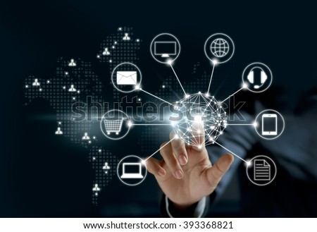 Hands touching circle global network connection, Omni Channel   Royalty-Free Stock Photo #393368821
