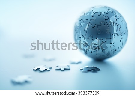 Global strategy solution concept - earth jigsaw puzzle #393377509