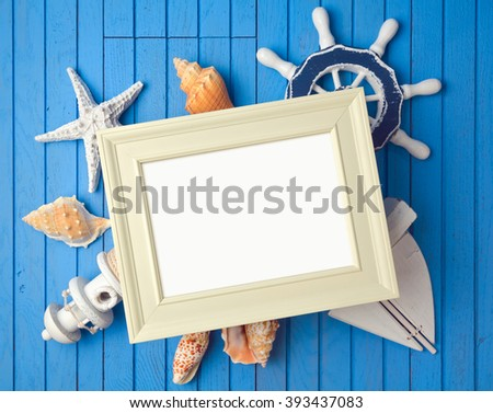 Summer holiday poster frame mock up template with decorations. View from above