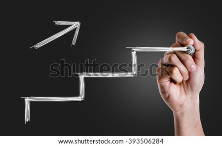 Hand drawing a stairs in a Conceptual Image #393506284