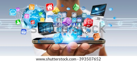 Businessman connecting tech devices and cyberspace applications #393507652