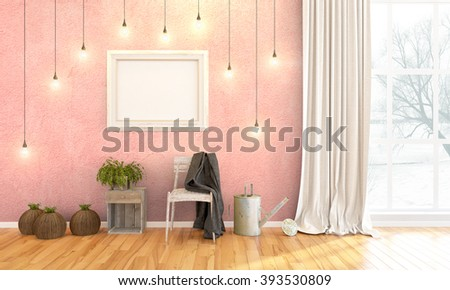 Modern bright interior . 3D render #393530809