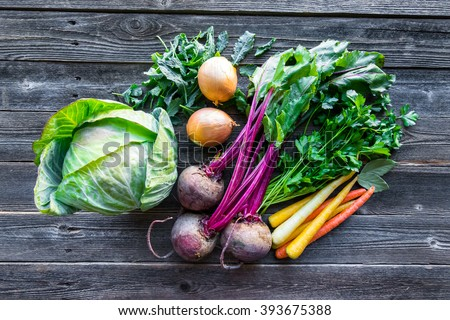 Fresh organic produce. Cabbage, Beets, Carrots, Onions, Kale and Parsley Royalty-Free Stock Photo #393675388