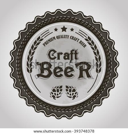 Vintage style craft beer sticker or badge #393748378