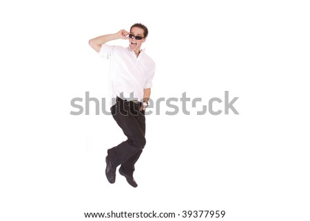 A handsome young man jumping  isolated on white #39377959