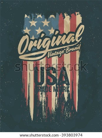 american broken flag / vintage flag design / original tee print design