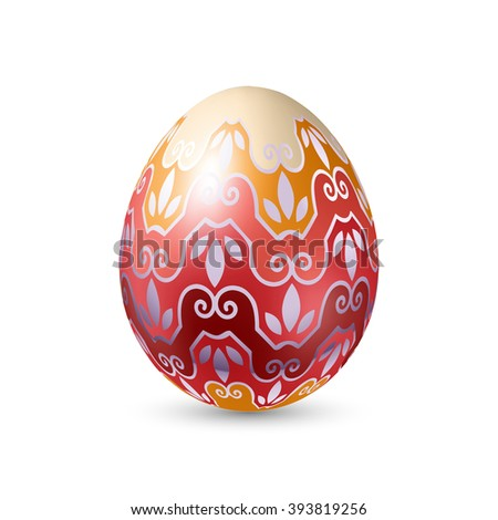 Easter Egg with Abstract Floral Pattern - Illustration on White Background #393819256