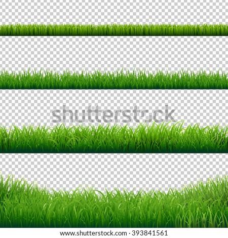 Green Grass Borders Set, Vector Illustration Royalty-Free Stock Photo #393841561