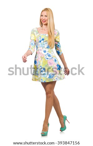 Caucasian woman wearing floral dress isolated on white #393847156
