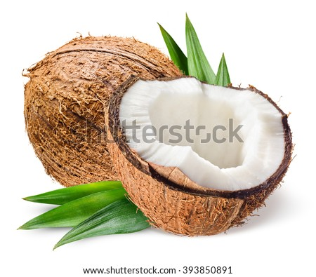 Coconut with half and leaves on white background #393850891