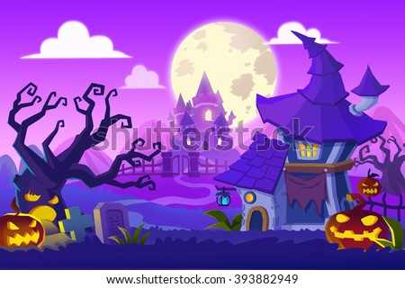 Creative Illustration and Innovative Art: Halloween Town. Realistic Fantastic Cartoon Style Artwork Scene, Wallpaper, Story Background, Card Design
