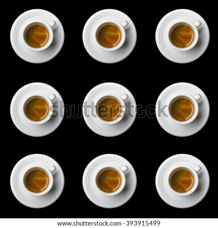 nine coffee cups top view on black background #393915499