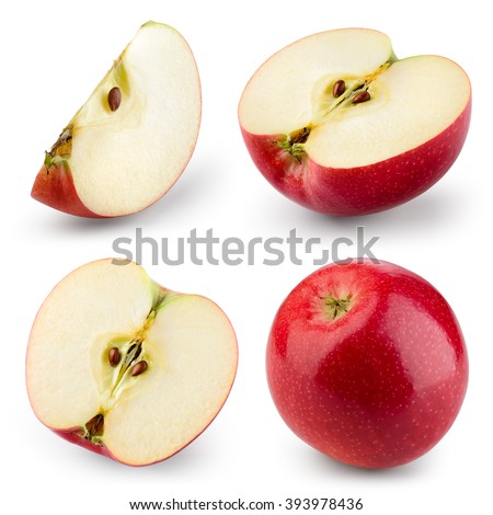 Red apple isolated on white. Collection. With clipping path #393978436