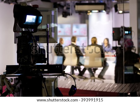 Recording live talk show at television studio #393991915