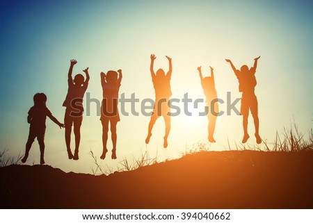 Silhouette of children jump gladness happy time #394040662