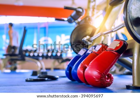 Boxing Gloves Red And Blue Gym Fitness - exercise The boxing Concept Royalty-Free Stock Photo #394095697