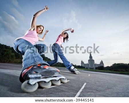 Wide angle photo of twin 'soul-wheeling' slide - little motion blur