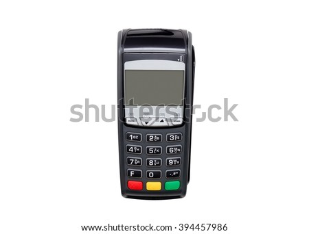 Payment terminal isolated on white. Front panel texture for your object Royalty-Free Stock Photo #394457986