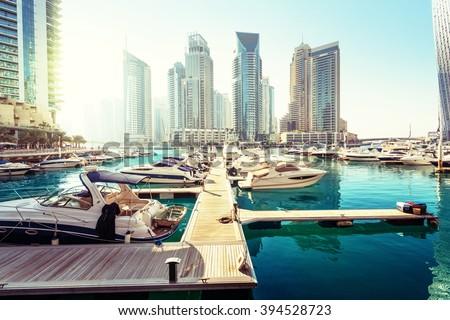 Dubai Marina at sunset, United Arab Emirates Royalty-Free Stock Photo #394528723