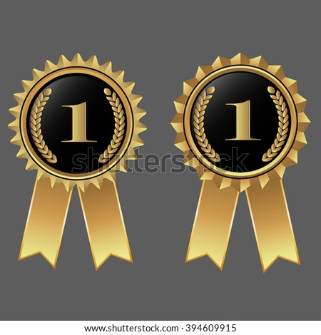 number one on gold award with ribbon #394609915