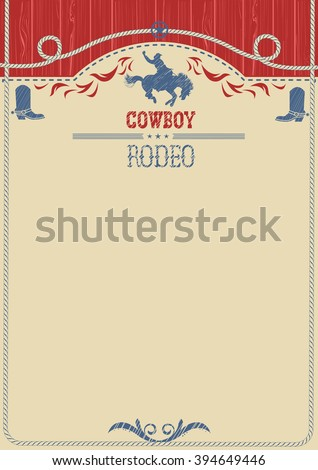 American western cowboy rodeo background.Vector poster for text or design.Cowboy riding wild horse