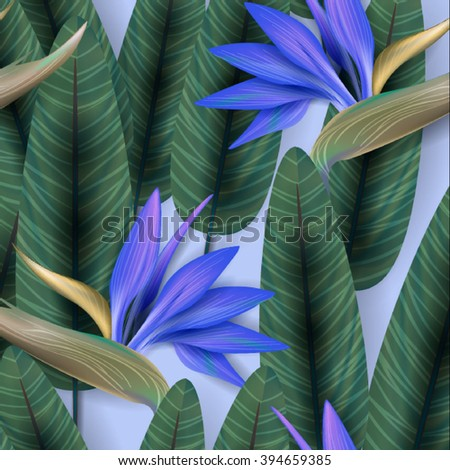 Strelitzia pattern. Tropical flower, blossom cluster seamless pattern . Beautiful background with tropical flowers and palm leaves, plant and leaf. #394659385