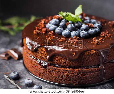 Chocolate cake with berries Royalty-Free Stock Photo #394680466