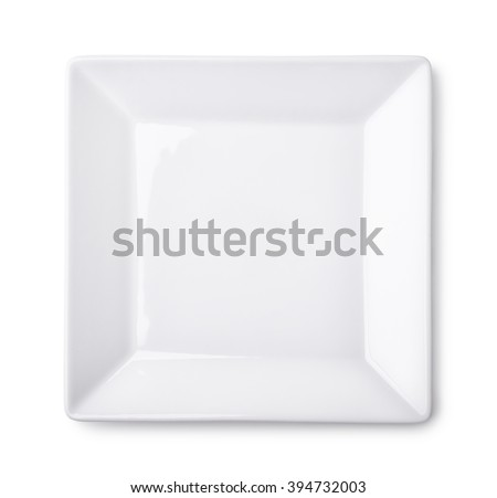 Top view of empty square plate isolated on white