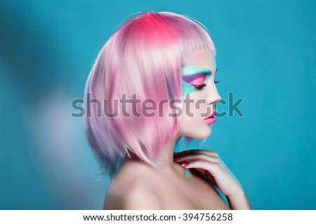 Great Profile of Sexy Girl with Creative Face Art Trendy Makeup and Pink Hairs. Trendy advertisement of sale and shopping #394756258