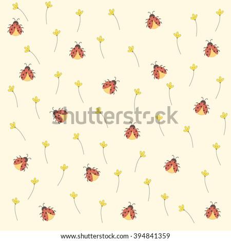 Ladybugs seamless background. vector design illustration.  #394841359