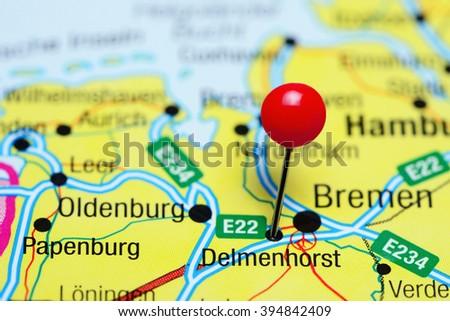 Delmenhorst pinned on a map of Germany  Royalty-Free Stock Photo #394842409
