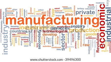 Word cloud concept illustration of manufacturing industry