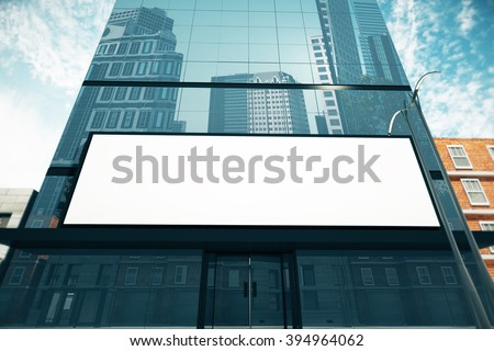 Blank billboard on glassy wall of business center, mock up, 3D Render