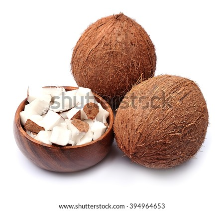 Coconuts on a white background. Slices  coconut #394964653