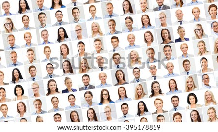 success concept - collage with many business people portraits #395178859