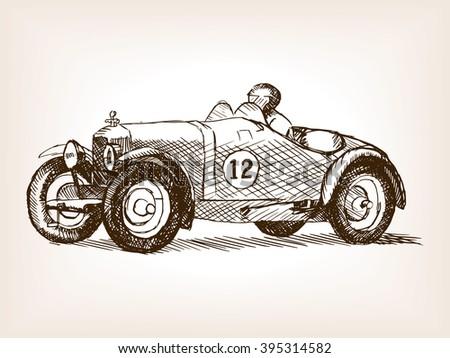 Retro sport race car vehicle sketch style raster illustration. Old engraving imitation. Vintage car hand drawn sketch imitation