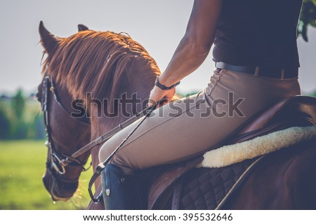 Woman riding on a brown horse Royalty-Free Stock Photo #395532646