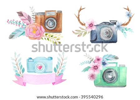 Set of watercolor photo camera logo templates with flowers, feathers and antlers. Hand painted photo clip art perfect for logo design and DIY project