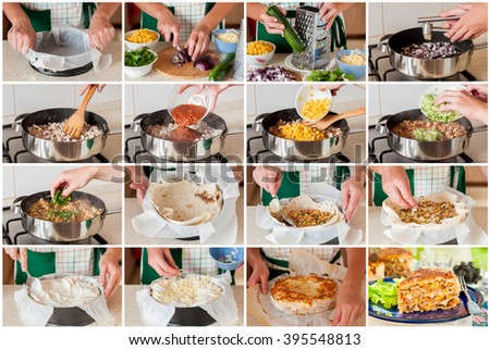 A Step by Step Collage of Making Mexican Chicken, Zucchini and Corn Tortilla Pie #395548813