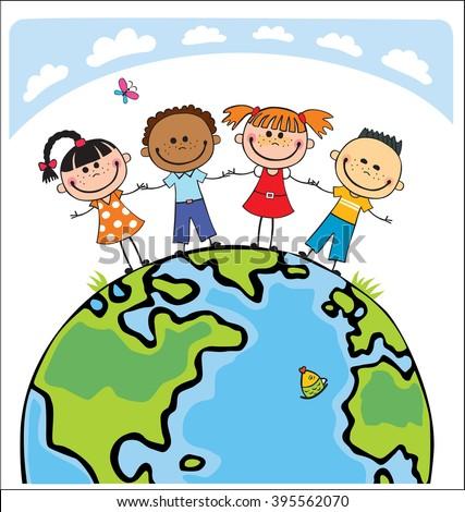 Globe kids. International friendship day. Earth day.  illustration of diverse Children Holding Hands. isolated, friends, charity, children, preschooler, ethnicity, save, earth,
