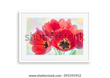 Frame with floral motif picture, bouquet of beautiful red tulips on colorful background, painting style