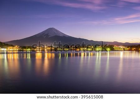 beautiful scece susnset reflection of mt.Fuji #395615008